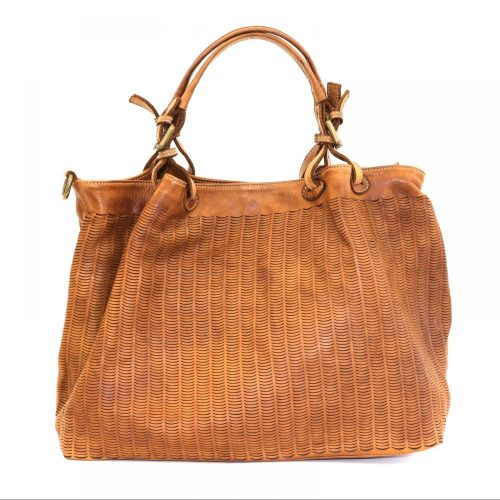 LUCIA Tote Bag Moon Cut Out Detail Tan