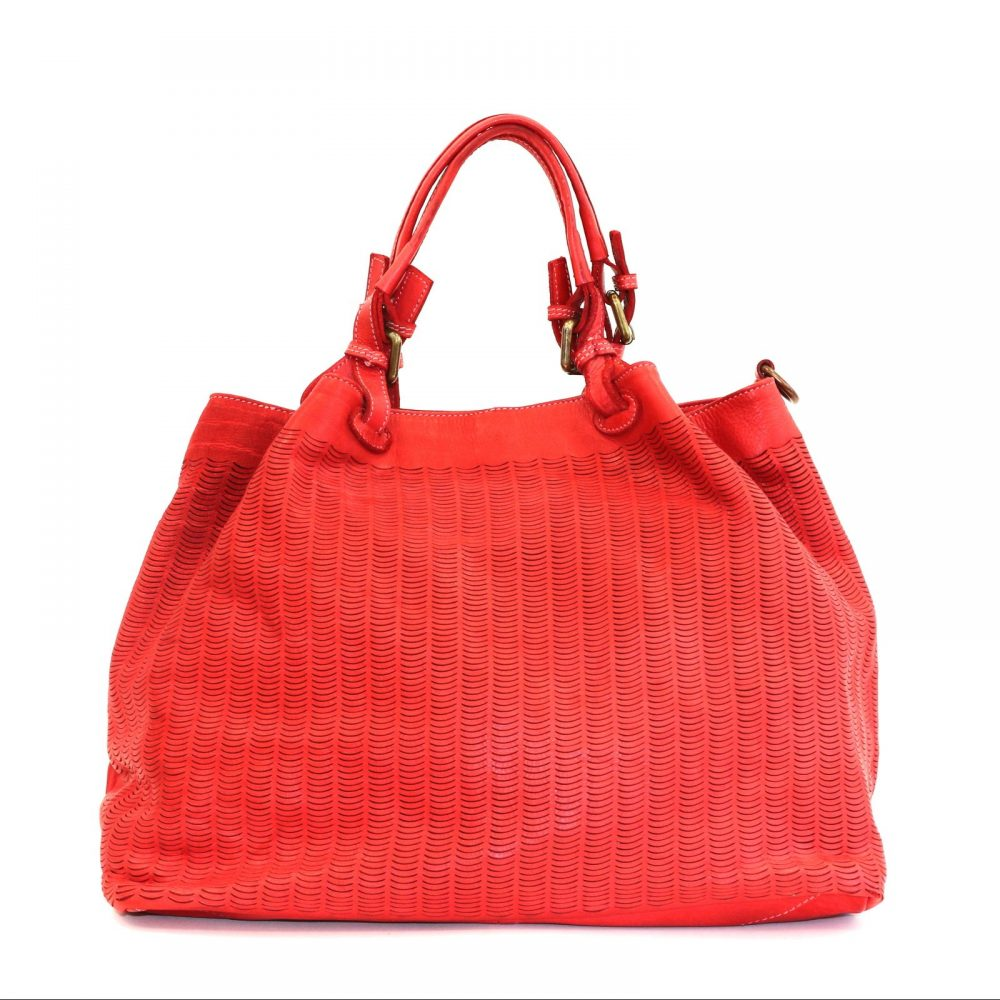 LUCIA Tote Bag Moon Cut Out Detail Red