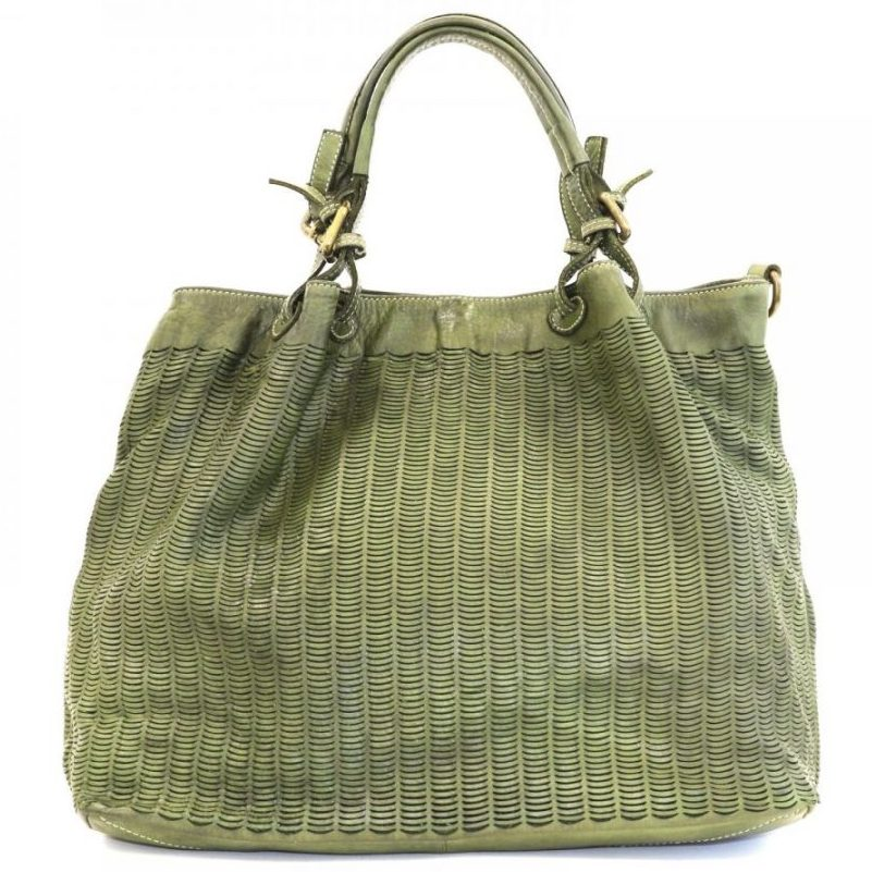LUCIA Tote Bag Moon Cut Out Detail Green