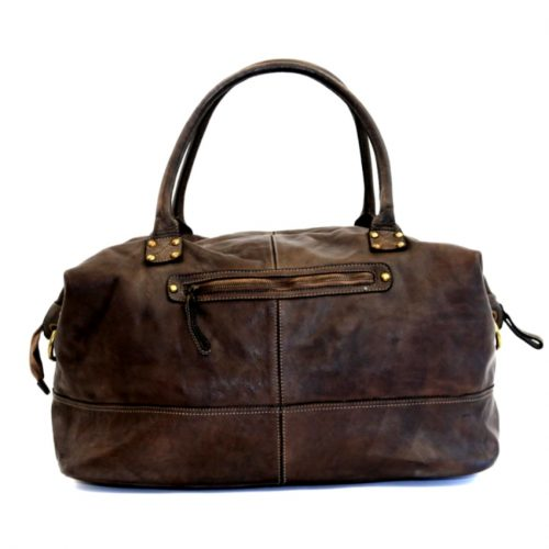 FIONA Large Duffle Weekender Travel Bag Dark Brown