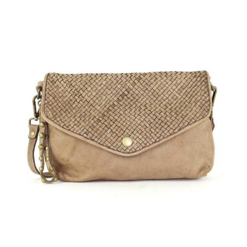 LAVINIA Envelope Clutch Bag Light Brown