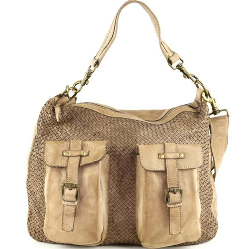 BARBARA Woven Hobo Bag With Two Pockets Taupe