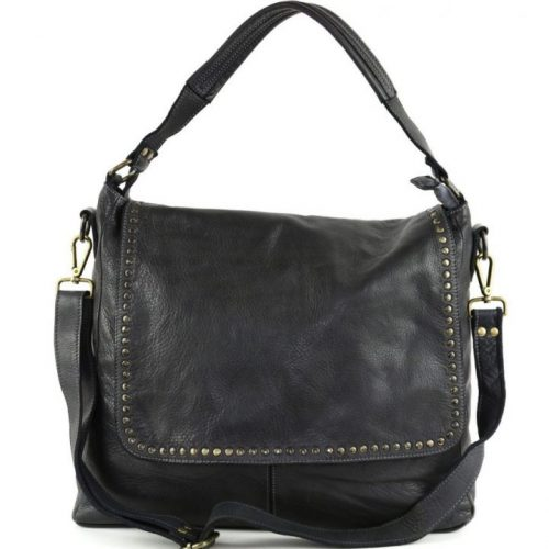 VIRGINIA Flap Bag With Top Handle Black
