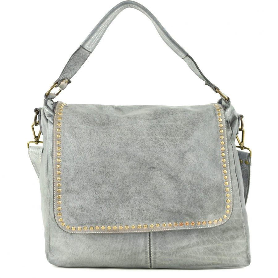 VIRGINIA Flap Bag With Top Handle Light Grey