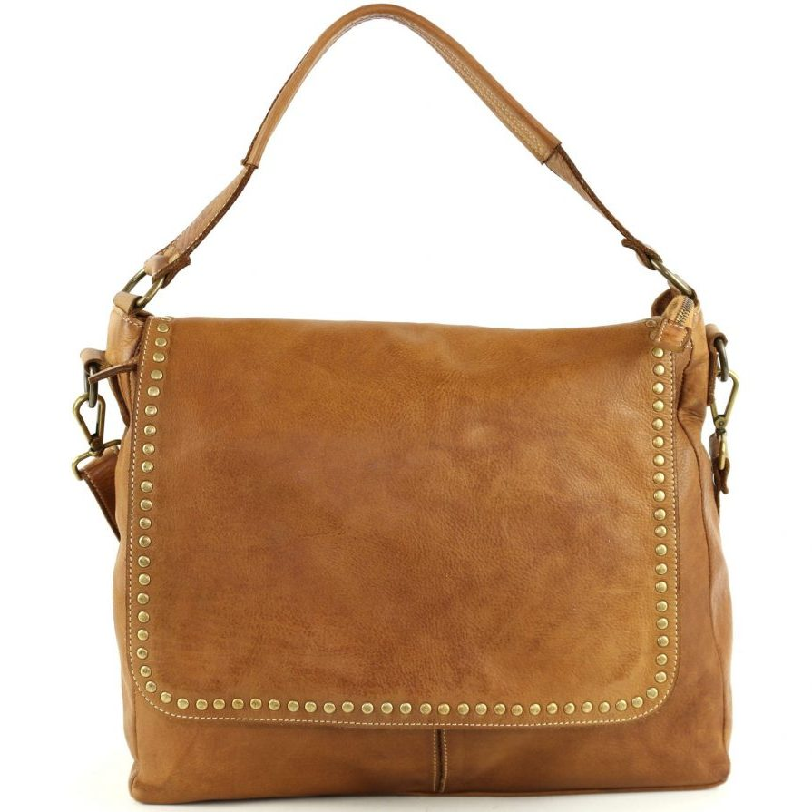 VIRGINIA Flap Bag With Top Handle Tan