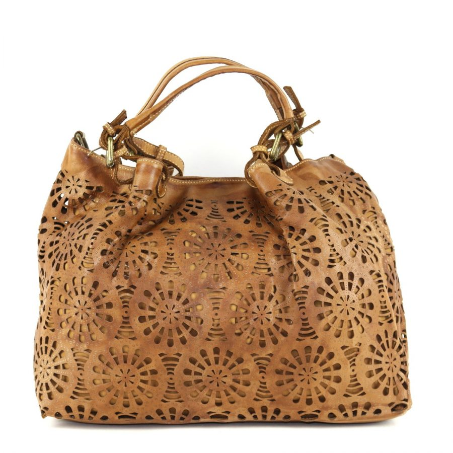LUCIA Tote Bag Laser Cut Detail Tan