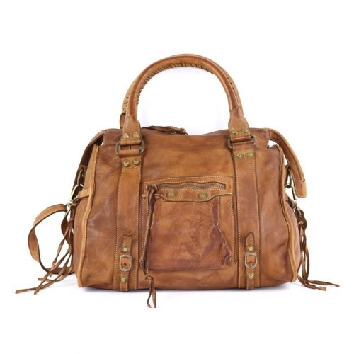 ISABELLA Hand Bag With Stitched Handle Tan