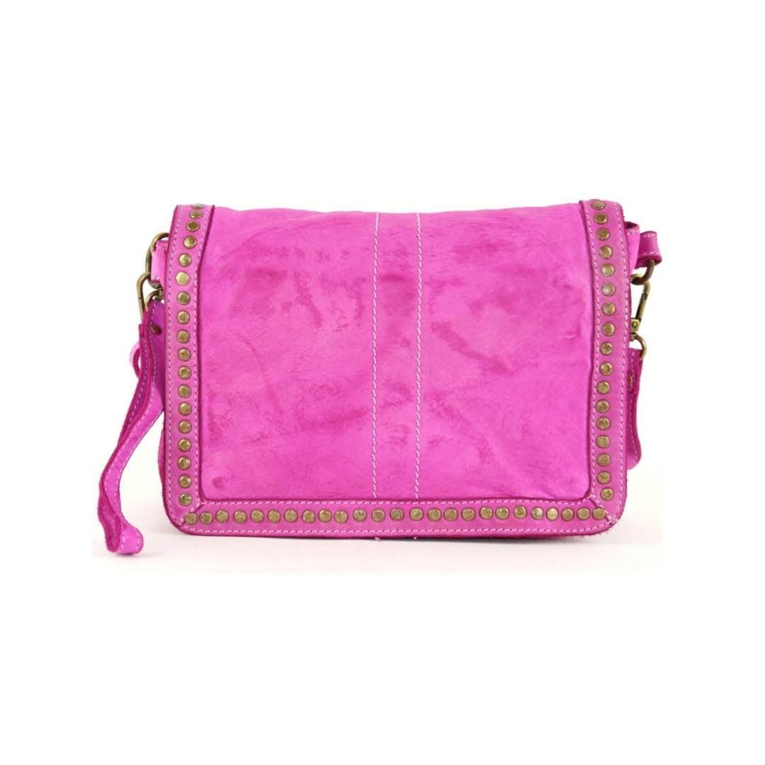 leather messenger bag silvia fuchsia