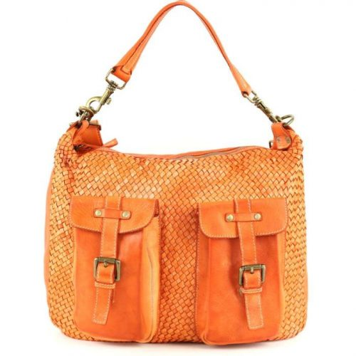 BARBARA Woven Hobo Bag With Two Pockets Orange