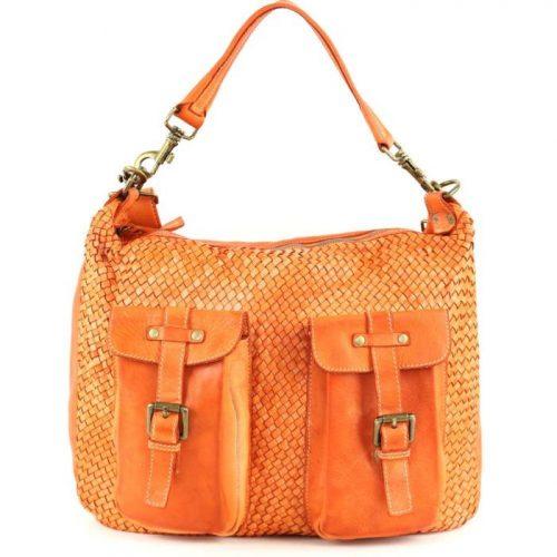 BARBARA Woven Hobo Bag With Two Pockets Orange