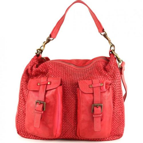 BARBARA Woven Hobo Bag With Two Pockets Red