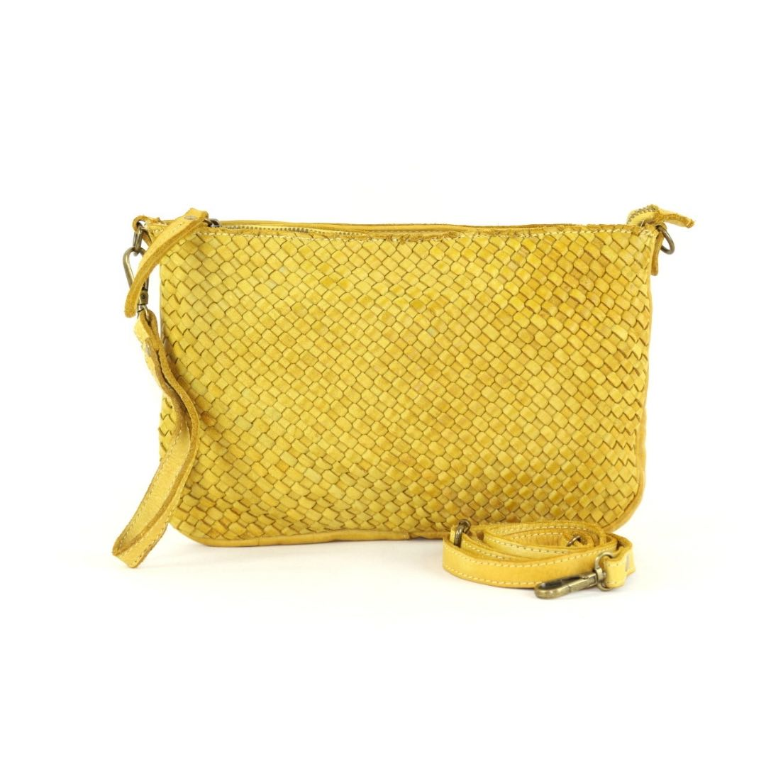 woven leather clutch claudia mustard yellow