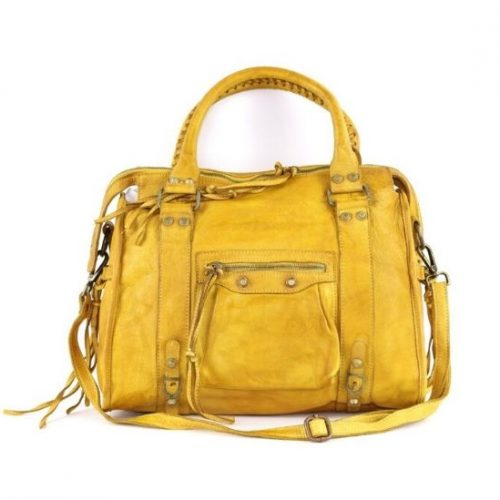 ISABELLA Hand Bag With Stitched Handle Mustard