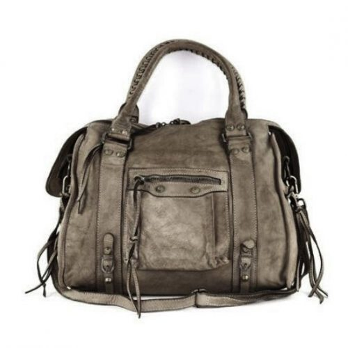 ISABELLA Hand Bag With Stitched Handle Dark Taupe