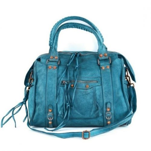 ISABELLA Hand Bag With Stitched Handle Teal