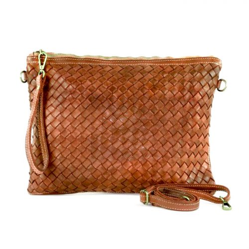 GIORGIA Woven Large Clutch Bag Tan