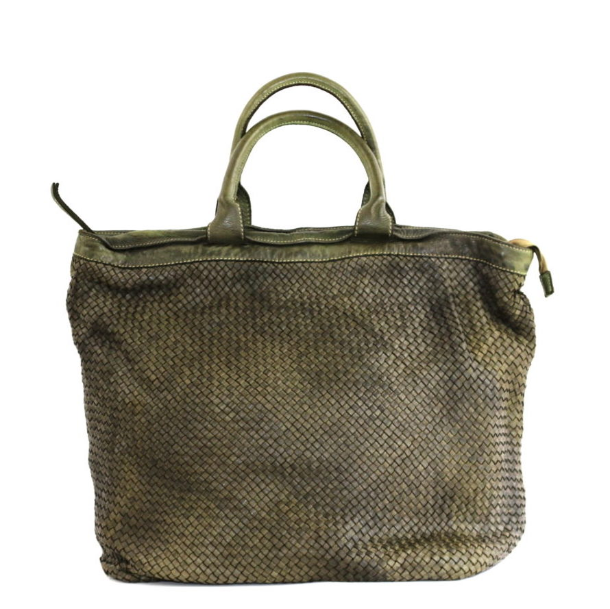 CHIARA Small Weave Tote Bag Army Green