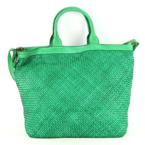 CHIARA Small Weave Tote Bag Bright Green