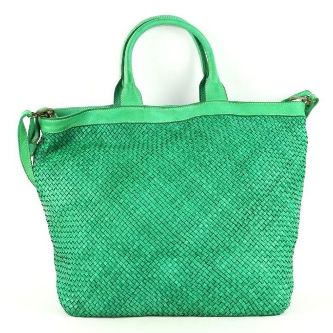 woven leather tote bag bright green