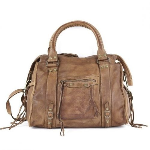 ISABELLA Hand Bag With Stitched Handle Light Taupe