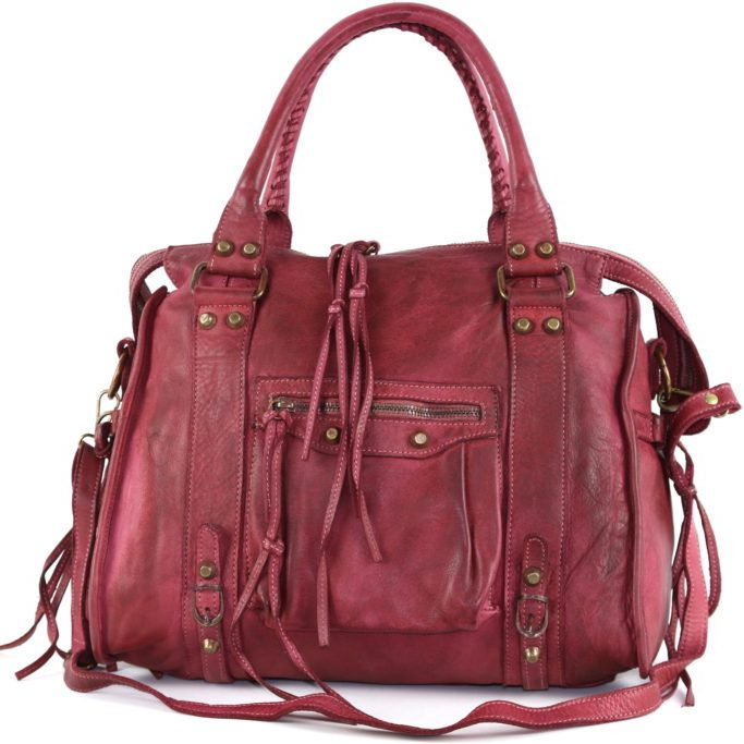 Isabella Hand Bag With Stitched Handle Bordeaux