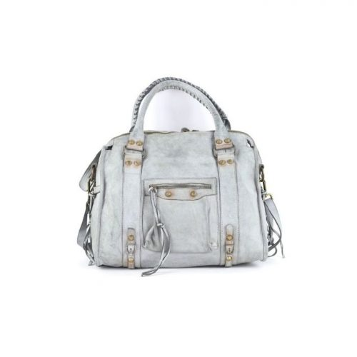 ISABELLA Hand Bag With Stitched Handle Light Grey