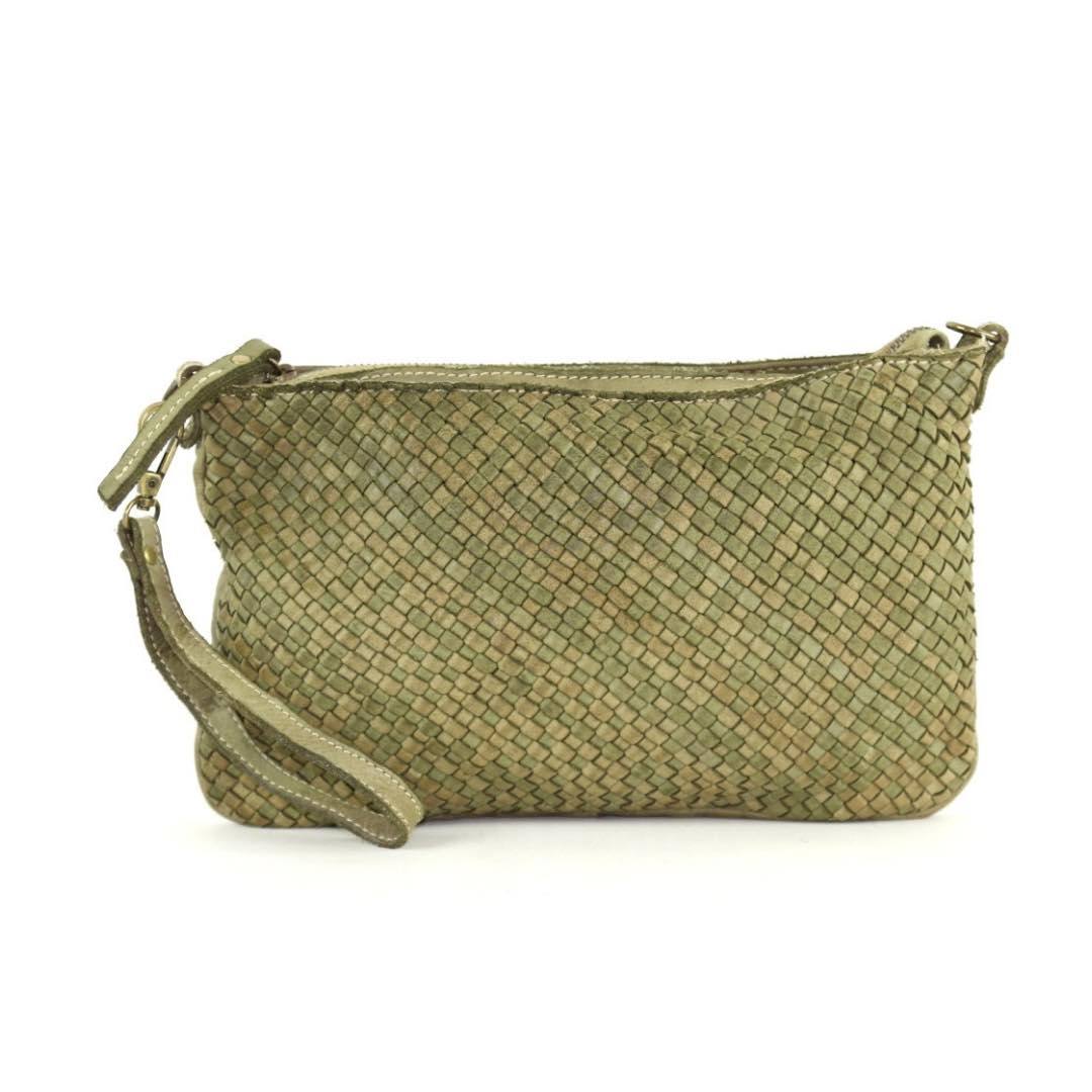 woven leather clutch claudia army green