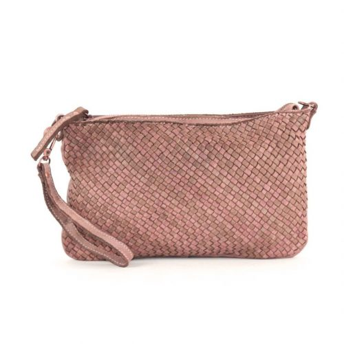 CLAUDIA Woven Clutch Wristlet Bag Blush