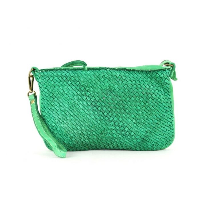 woven leather clutch claudia bright green
