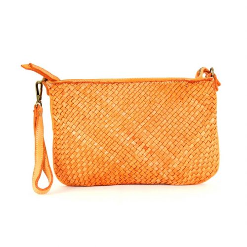 CLAUDIA Woven Clutch Wristlet Bag Orange