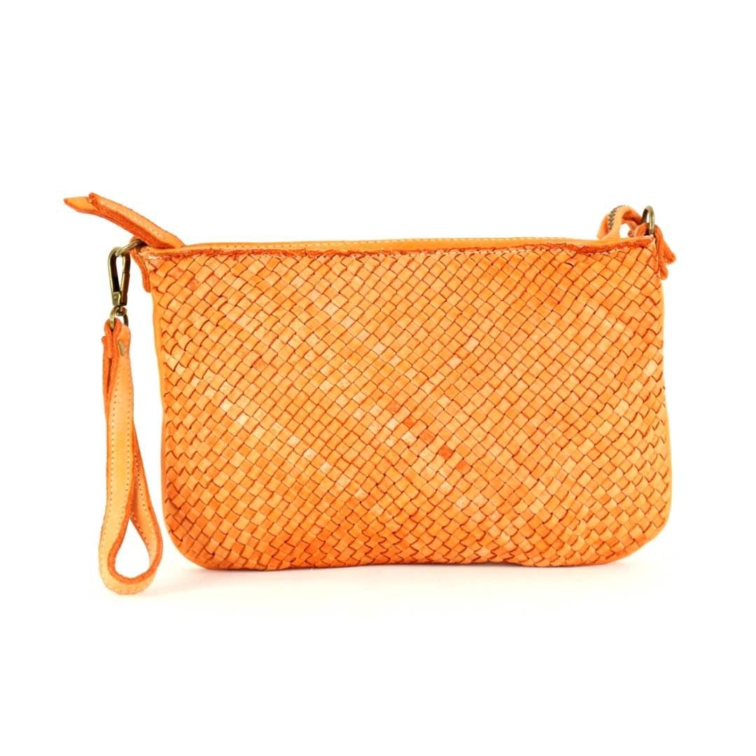 woven leather clutch claudia orange