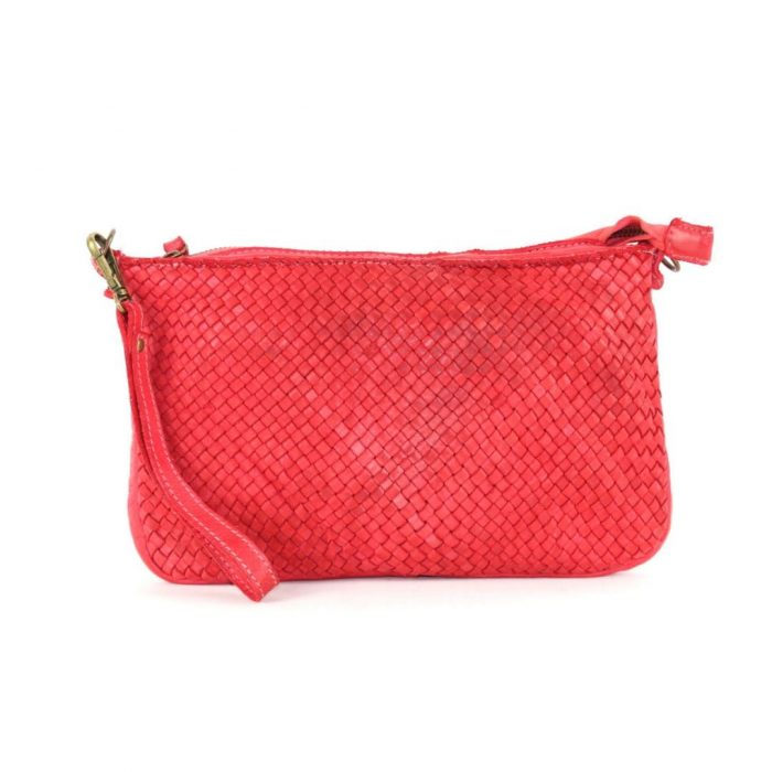 woven leather clutch claudia red