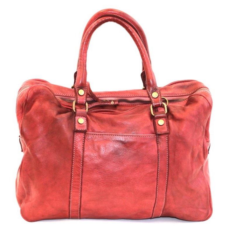carlotta vintage leather laptop bag red