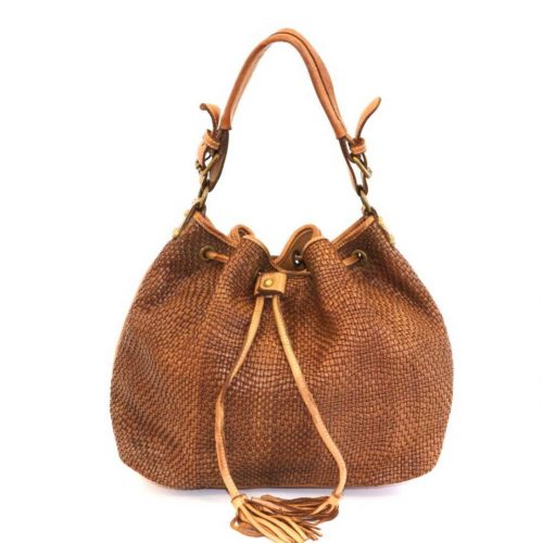 ELENA Bucket Bag With Tassels Tan