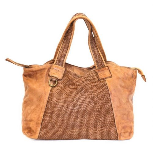 DARIA Hand Bag With Woven Detail Tan