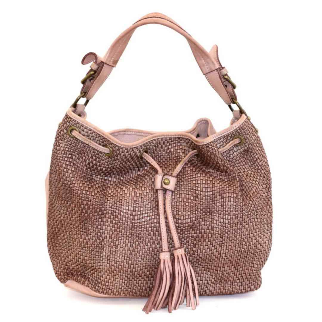 ELENA Bucket Bag With Tassels Blush