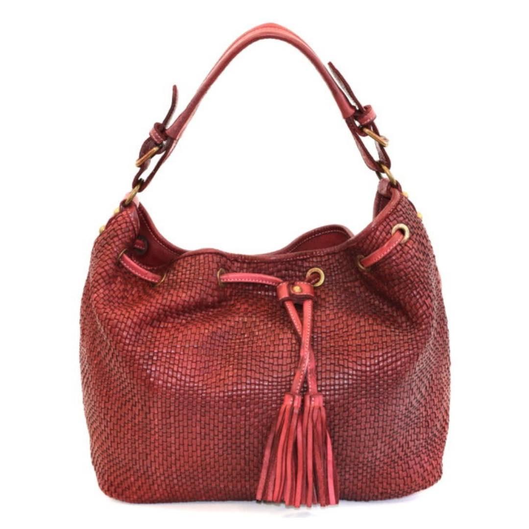 ELENA Bucket Bag With Tassels Bordeaux