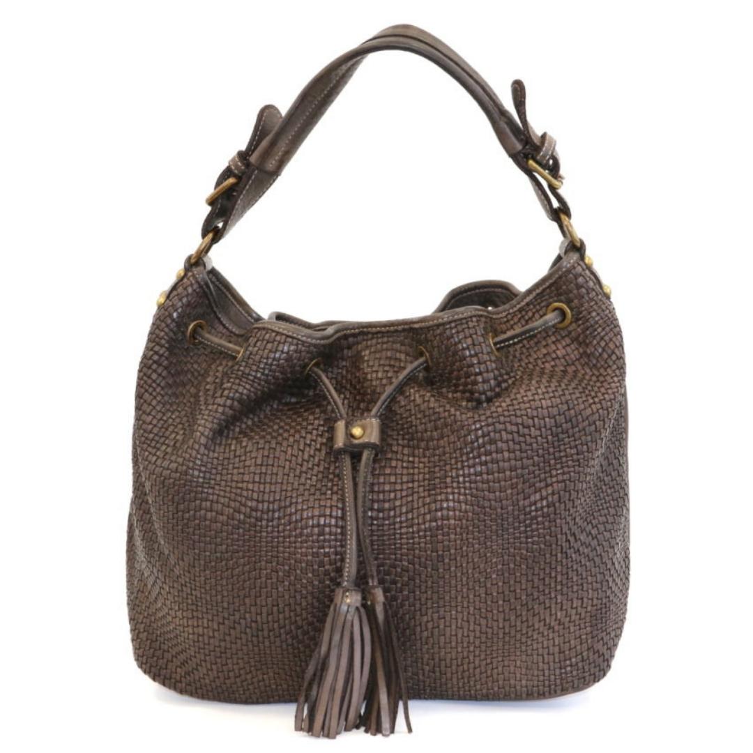 ELENA Bucket Bag With Tassels Dark Brown