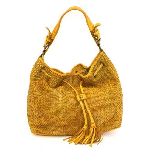 ELENA Bucket Bag With Tassels Mustard