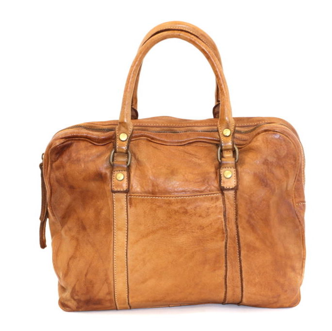 carlotta vintage leather laptop bag tan