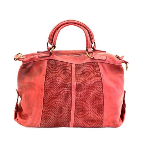 NADIA Hand Bag Woven Details Bordeaux