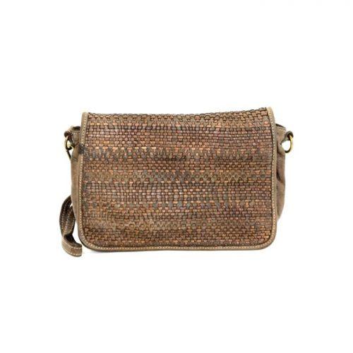 SILVIA Wave Weave Cross-body Bag Dark Brown