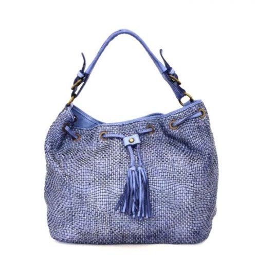 ELENA Bucket Bag With Tassels Denim