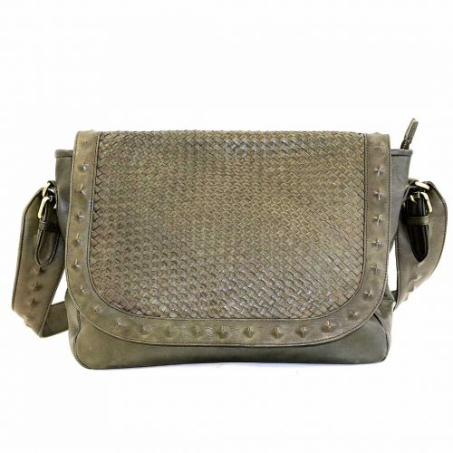 ELEONORA Cross Body Bag With Studs Army