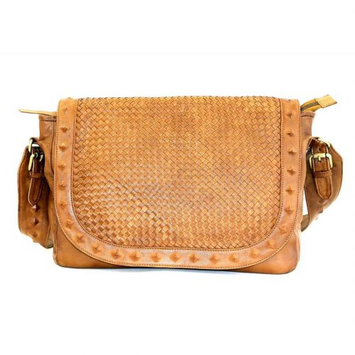 ELEONORA Cross Body Bag With Studs Tan