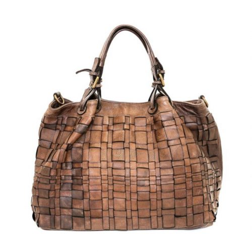 LUCIA Tote Bag Asymmetric Weave Taupe