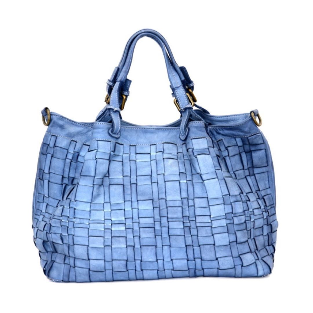 LUCIA Tote Bag Asymmetric Weave Denim