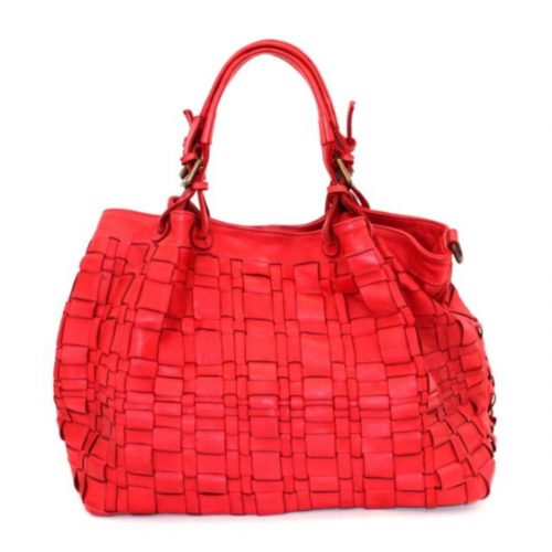 LUCIA Tote Bag Asymmetric Weave Red
