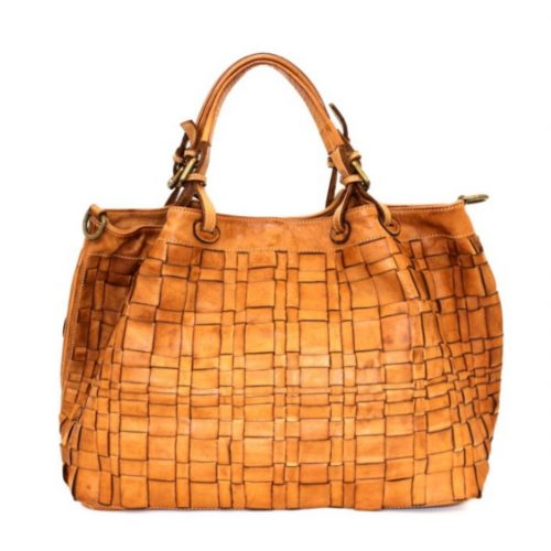 LUCIA Tote Bag Asymmetric Weave Tan