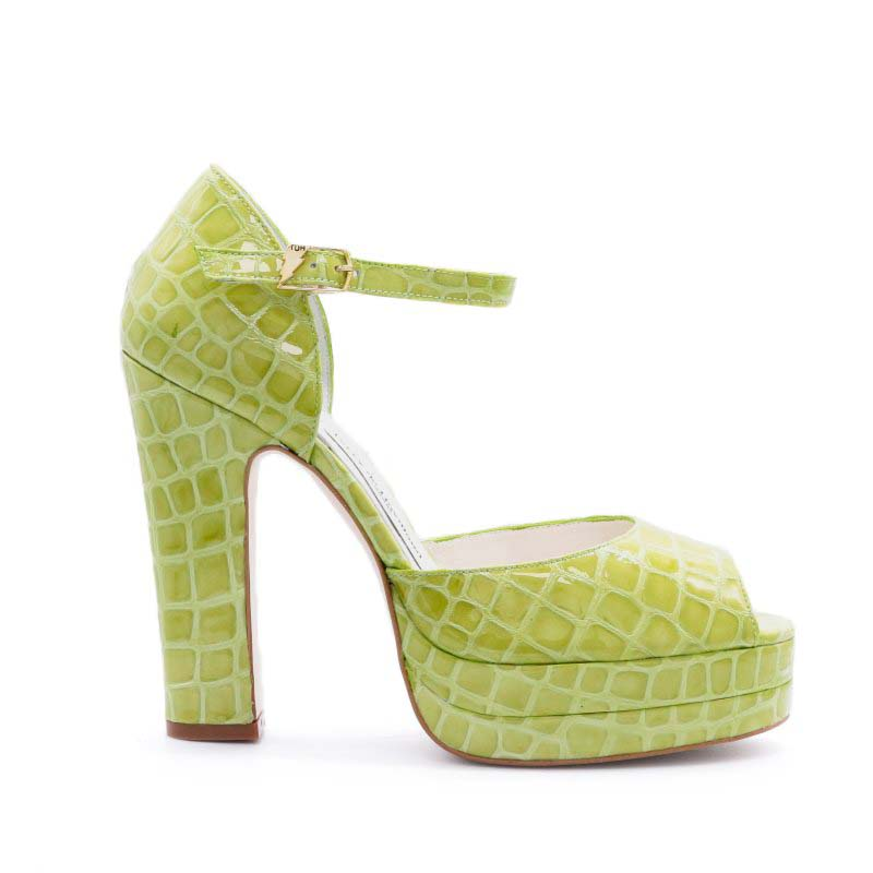 Terry De Havilland Croc Print Lena Platform Sandals In Lime